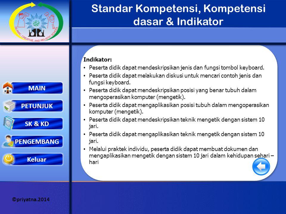 Keluar MAIN PETUNJUK PENGEMBANG ©priyatna.2014 SK & KD Standar Kompetensi, Kompetensi dasar & Indikator Standar Kompetensi : Terampil mengetik dengan