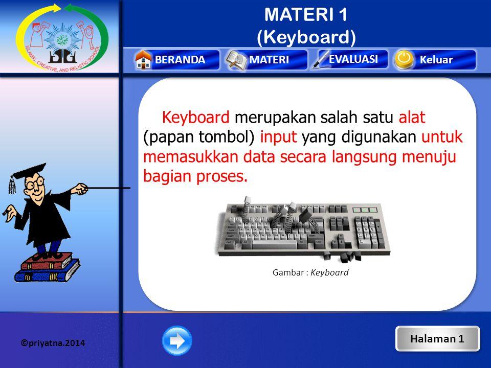Keluar EVALUASI BERANDAMATERI ©priyatna.2014 MATERI 1 (Keyboard) Keyboard merupakan salah satu alat (papan tombol) input yang digunakan untuk memasukkan data secara langsung menuju bagian proses.
