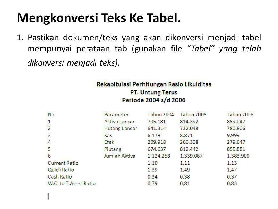 "Mengkonversi Teks Ke Tabel. 1. Pastikan dokumen/teks yang akan dikonversi menjadi tabel mempunyai perataan tab (gunakan file ""Tabel"" yang telah dikonv"