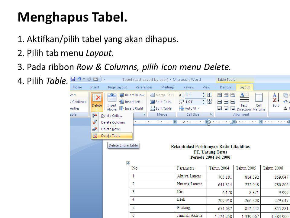 Menghapus Tabel. 1. Aktifkan/pilih tabel yang akan dihapus. 2. Pilih tab menu Layout. 3. Pada ribbon Row & Columns, pilih icon menu Delete. 4. Pilih T