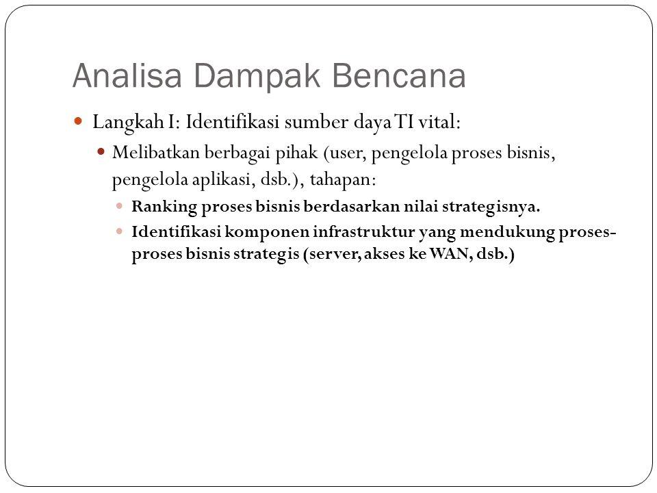 Analisa Dampak Bencana 13 Langkah I: Identifikasi sumber daya TI vital: Melibatkan berbagai pihak (user, pengelola proses bisnis, pengelola aplikasi, dsb.), tahapan: Ranking proses bisnis berdasarkan nilai strategisnya.