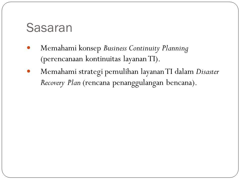 Sasaran 2 Memahami konsep Business Continuity Planning (perencanaan kontinuitas layanan TI). Memahami strategi pemulihan layanan TI dalam Disaster Rec
