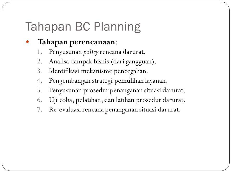 Tahapan BC Planning 5 Tahapan perencanaan: 1.Penyusunan policy rencana darurat. 2.Analisa dampak bisnis (dari gangguan). 3.Identifikasi mekanisme penc