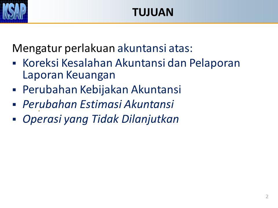 TUJUAN Mengatur perlakuan akuntansi atas:  Koreksi Kesalahan Akuntansi dan Pelaporan Laporan Keuangan  Perubahan Kebijakan Akuntansi  Perubahan Est