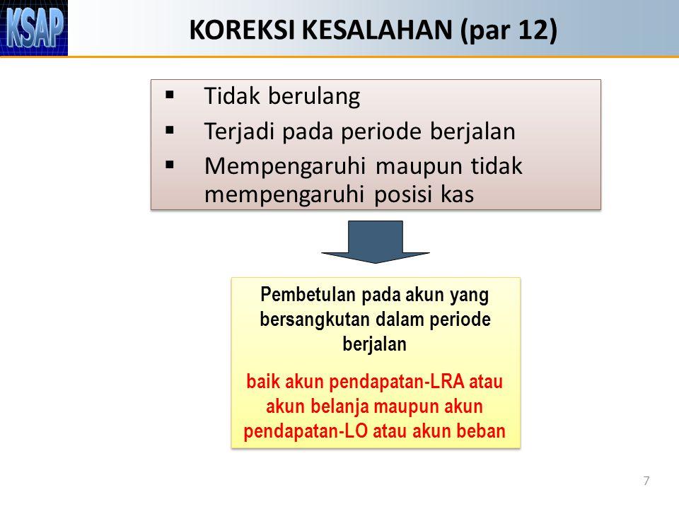 KOREKSI KESALAHAN (par 12)  Tidak berulang  Terjadi pada periode berjalan  Mempengaruhi maupun tidak mempengaruhi posisi kas  Tidak berulang  Ter