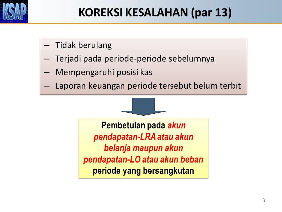 KOREKSI KESALAHAN (par 13) – Tidak berulang – Terjadi pada periode-periode sebelumnya – Mempengaruhi posisi kas – Laporan keuangan periode tersebut be