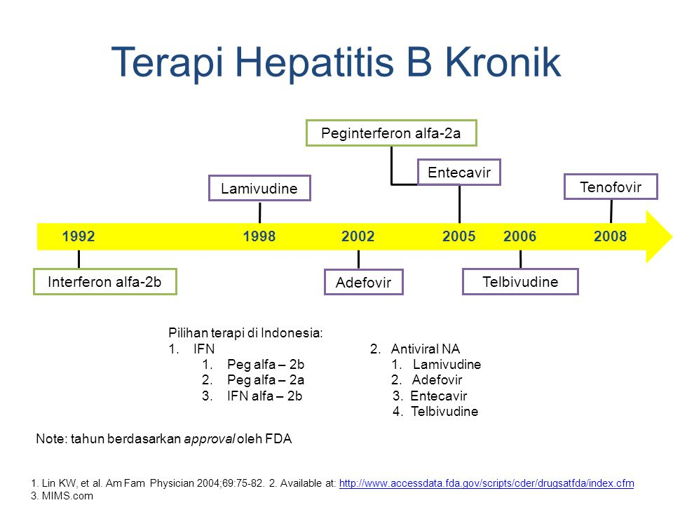 Terapi Hepatitis B Kronik 1. Lin KW, et al. Am Fam Physician 2004;69:75-82. 2. Available at: http://www.accessdata.fda.gov/scripts/cder/drugsatfda/ind