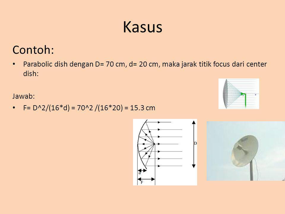 Kasus Contoh: Parabolic dish dengan D= 70 cm, d= 20 cm, maka jarak titik focus dari center dish: Jawab: F= D^2/(16*d) = 70^2 /(16*20) = 15.3 cm