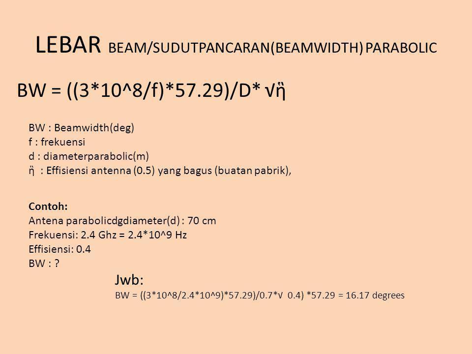 LEBAR BEAM/SUDUTPANCARAN(BEAMWIDTH) PARABOLIC BW = ((3*10^8/f)*57.29)/D* √ἣ BW : Beamwidth(deg) f : frekuensi d : diameterparabolic(m) ἣ : Effisiensi