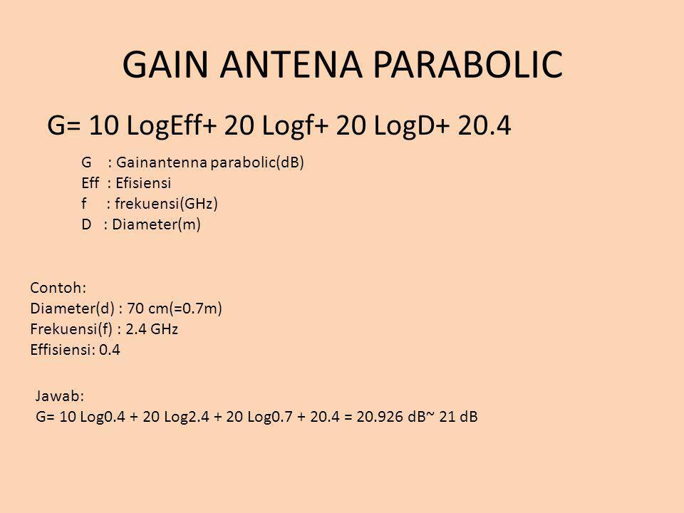 GAIN ANTENA PARABOLIC G= 10 LogEff+ 20 Logf+ 20 LogD+ 20.4 G : Gainantenna parabolic(dB) Eff : Efisiensi f : frekuensi(GHz) D : Diameter(m) Contoh: Di