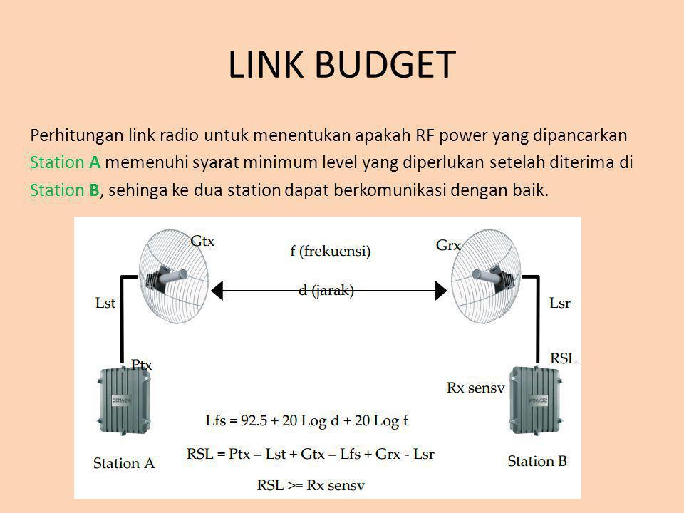LINK BUDGET Perhitungan link radio untuk menentukan apakah RF power yang dipancarkan Station A memenuhi syarat minimum level yang diperlukan setelah d