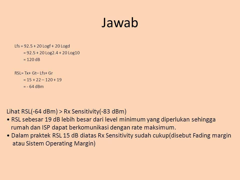 Jawab Lfs = 92.5 + 20 Logf + 20 Logd = 92.5 + 20 Log2.4 + 20 Log10 = 120 dB RSL= Tx+ Gt– Lfs+ Gr = 15 + 22 – 120 + 19 = - 64 dBm Lihat RSL(-64 dBm) >