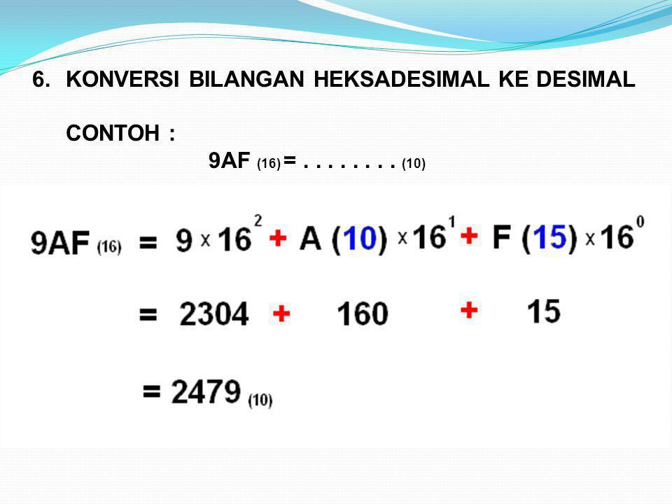 6.KONVERSI BILANGAN HEKSADESIMAL KE DESIMAL CONTOH : 9AF (16) =........ (10)