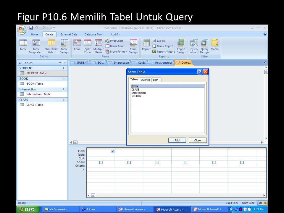 Figur P10.6 Memilih Tabel Untuk Query