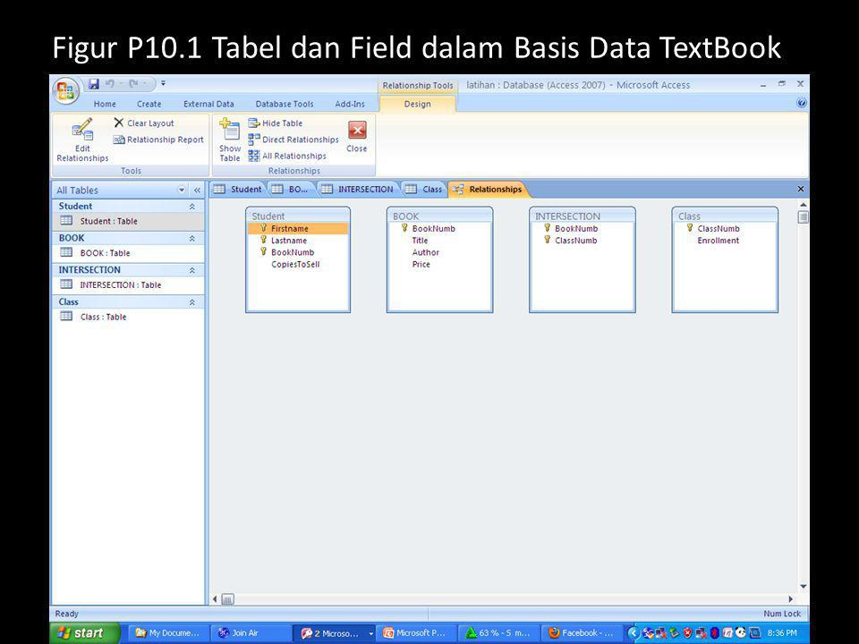 Figur P10.1 Tabel dan Field dalam Basis Data TextBook