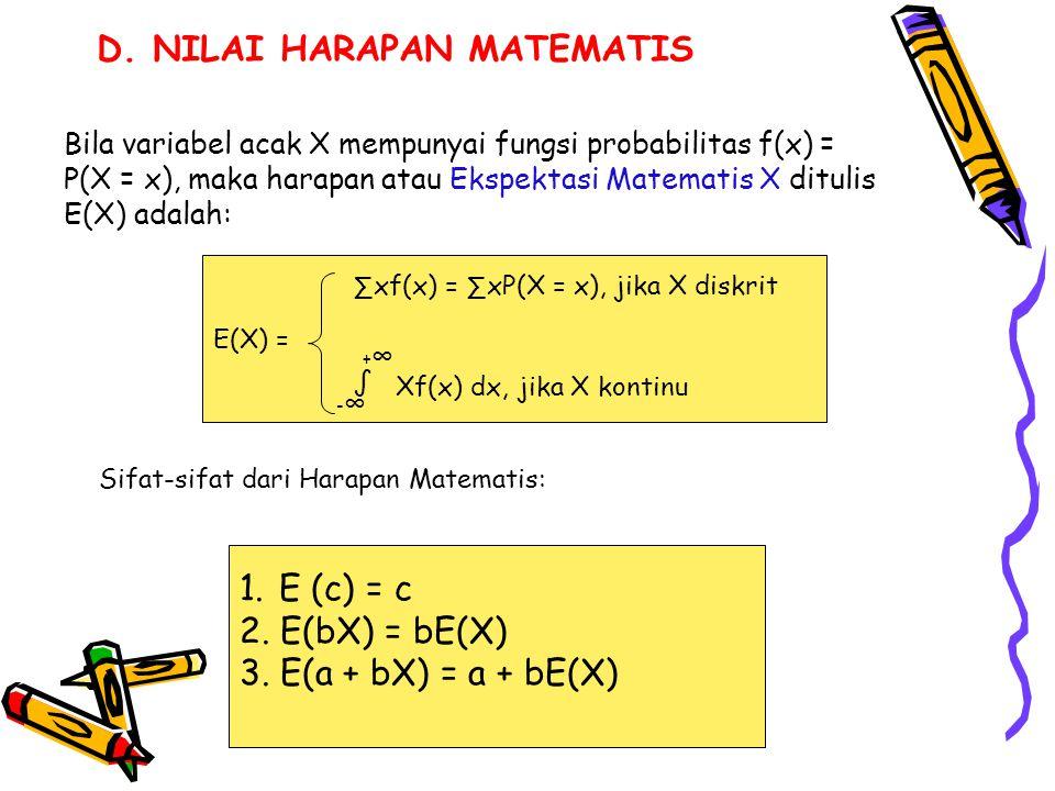 Bila variabel acak X mempunyai fungsi probabilitas f(x) = P(X = x), maka harapan atau Ekspektasi Matematis X ditulis E(X) adalah: E(X) = ∑xf(x) = ∑xP(