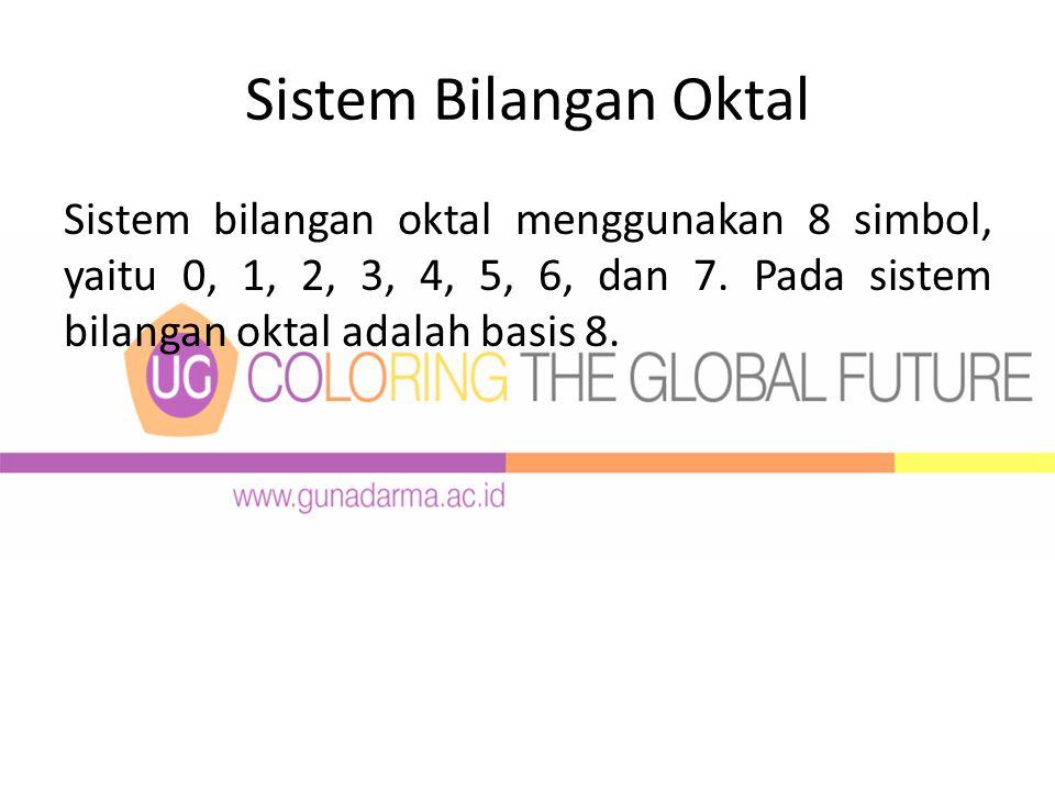 Sistem Bilangan Oktal Sistem bilangan oktal menggunakan 8 simbol, yaitu 0, 1, 2, 3, 4, 5, 6, dan 7.
