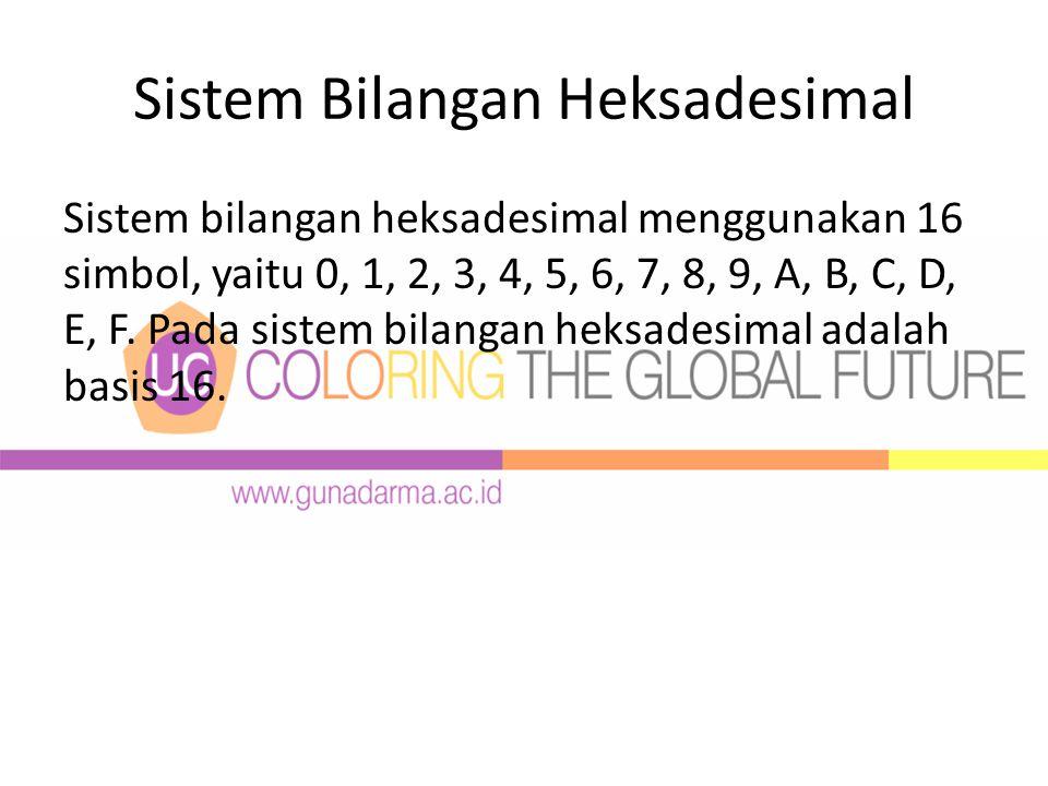 Sistem Bilangan Heksadesimal Sistem bilangan heksadesimal menggunakan 16 simbol, yaitu 0, 1, 2, 3, 4, 5, 6, 7, 8, 9, A, B, C, D, E, F.