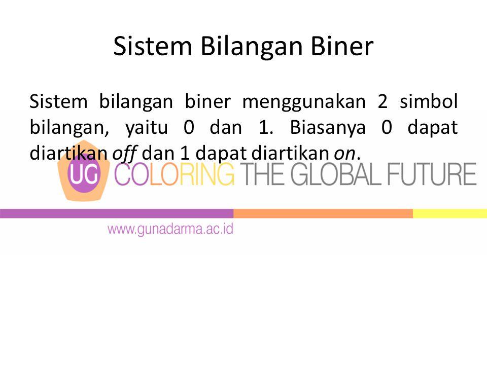 Sistem Bilangan Biner Sistem bilangan biner menggunakan 2 simbol bilangan, yaitu 0 dan 1.