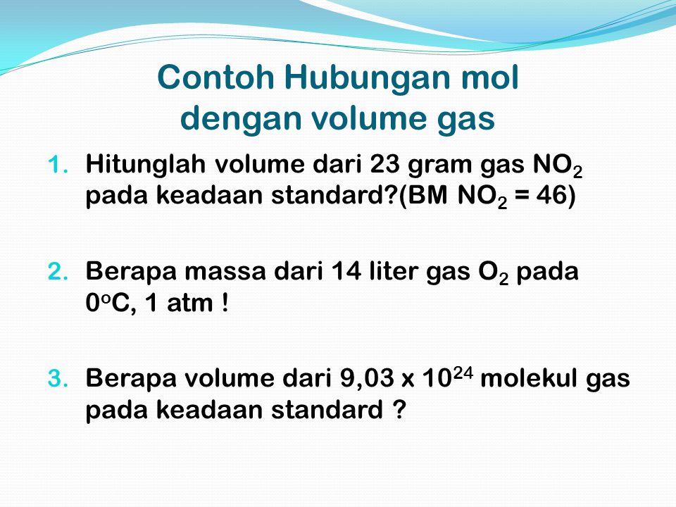 Contoh Hubungan mol dengan volume gas 1. Hitunglah volume dari 23 gram gas NO 2 pada keadaan standard?(BM NO 2 = 46) 2. Berapa massa dari 14 liter gas