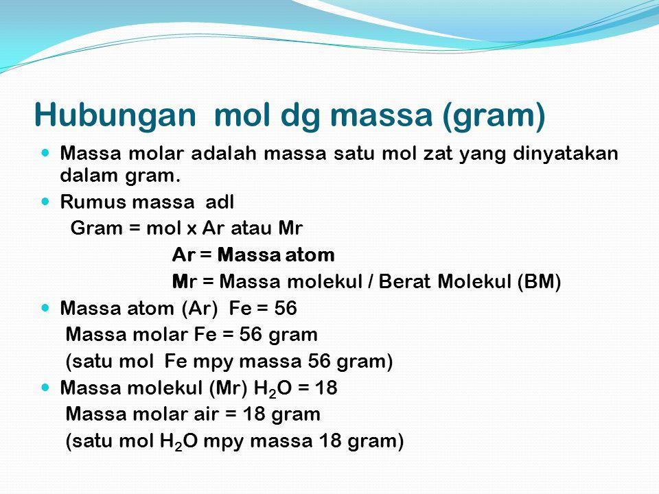 Hubungan mol dg massa (gram) Massa molar adalah massa satu mol zat yang dinyatakan dalam gram. Rumus massa adl Gram = mol x Ar atau Mr Ar = Massa atom