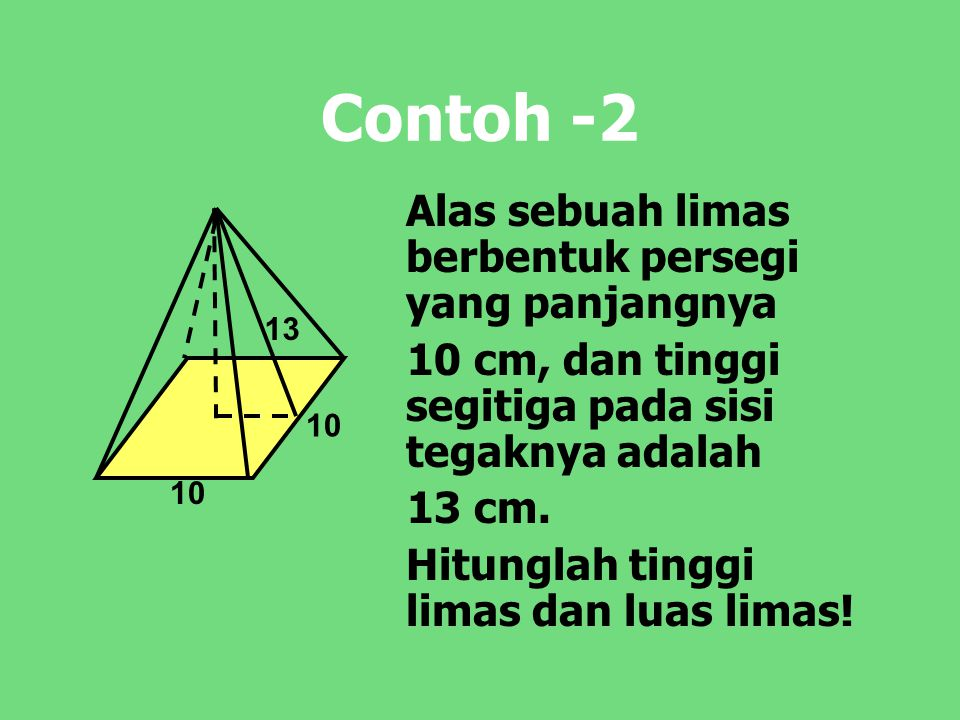 Contoh -2 Alas sebuah limas berbentuk persegi yang panjangnya 10 cm, dan tinggi segitiga pada sisi tegaknya adalah 13 cm. Hitunglah tinggi limas dan l