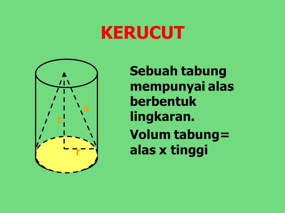 KERUCUT Sebuah tabung mempunyai alas berbentuk lingkaran. Volum tabung= alas x tinggi r t s