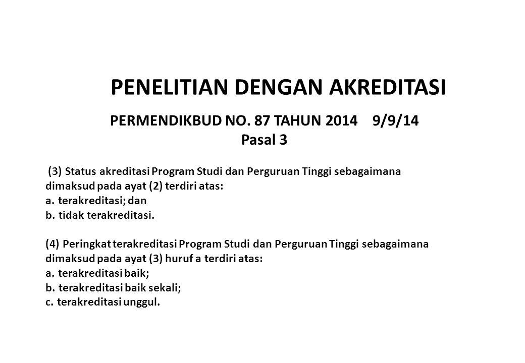 PERMENDIKBUD NO. 87 TAHUN 2014 9/9/14 Pasal 3 (3) Status akreditasi Program Studi dan Perguruan Tinggi sebagaimana dimaksud pada ayat (2) terdiri atas
