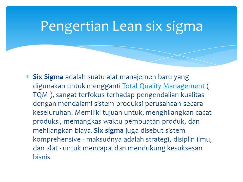  Six Sigma adalah suatu alat manajemen baru yang digunakan untuk mengganti Total Quality Management ( TQM ), sangat terfokus terhadap pengendalian ku