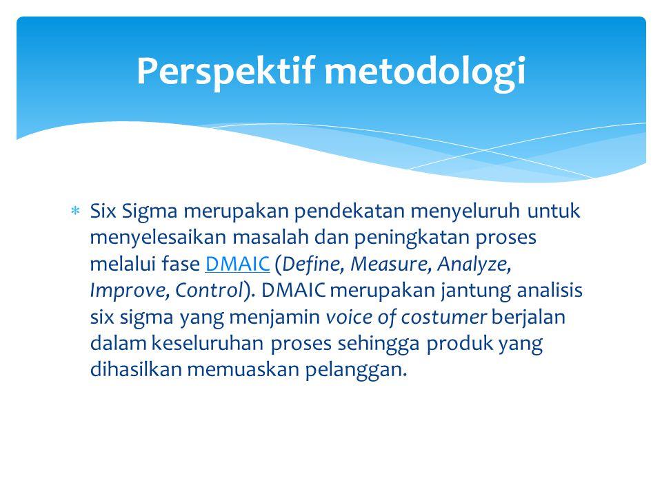  Six Sigma merupakan pendekatan menyeluruh untuk menyelesaikan masalah dan peningkatan proses melalui fase DMAIC (Define, Measure, Analyze, Improve,