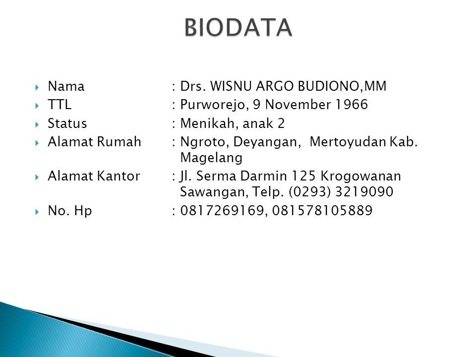  Nama: Drs. WISNU ARGO BUDIONO,MM  TTL: Purworejo, 9 November 1966  Status: Menikah, anak 2  Alamat Rumah: Ngroto, Deyangan, Mertoyudan Kab. Magel