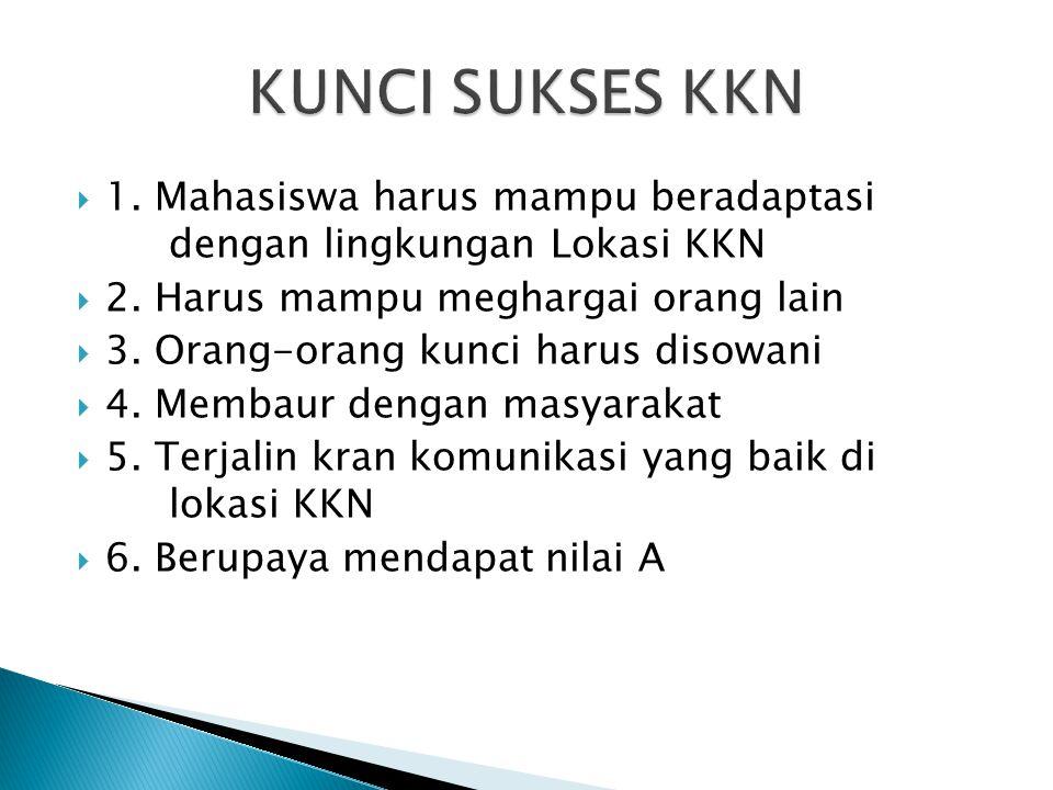  1. Mahasiswa harus mampu beradaptasi dengan lingkungan Lokasi KKN  2. Harus mampu meghargai orang lain  3. Orang-orang kunci harus disowani  4. M