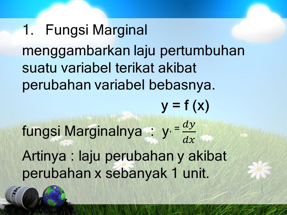 Solusi Fungsi permintaan : P = 16 - 2Q Fungsi total pendapatan: R = P.Q = (16 - 2Q) Q = 16Q – 2Q 2 Fungsi marginal pendapatan: MR = 16Q - 2Q 2 Turunan pertama: MR' = 16 - 4Q = 0 16 = 4Q Q = 4 Turunan kedua:MR = - 4 < 0