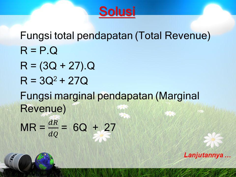 Solusi Fungsi total biaya (total biaya): C = Q 3 - 4Q 2 + 10Q + 75 Fungsi Marginal Biaya (marginal cost): C' = 3Q 2 - 8Q + 10 Jika perusahaan berproduksi pada tingkat penjualan Q = 2, maka MC = C'= 3Q 2 - 8Q + 10 = 3(2) 2 - 8(2) + 10 = 12 – 16 + 10 = 6