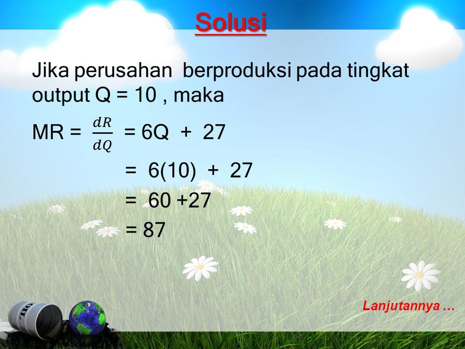 Solusi Total biaya minimumnya sebesar: C = 5Q 2 - 1000Q + 85000 C = 5(100) 2 - 1000(100) + 85000 C = 35000 Jadi total biaya minimumnya sebesar: 35000
