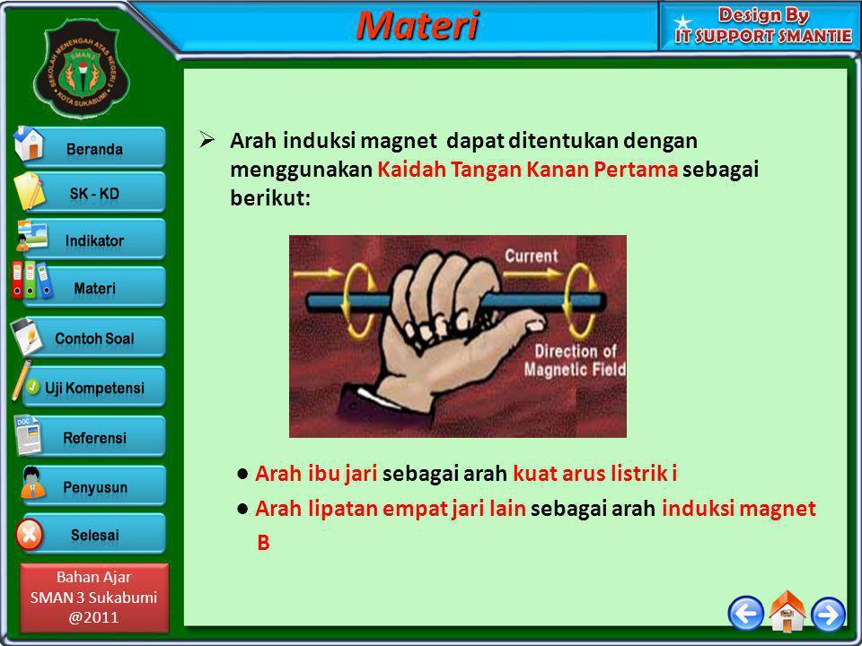 Bahan Ajar SMAN 3 Sukabumi @2011 Bahan Ajar SMAN 3 Sukabumi @2011  Contoh Soal: (1) Sebuah kawat lurus dialiri arus listrik 10 A.