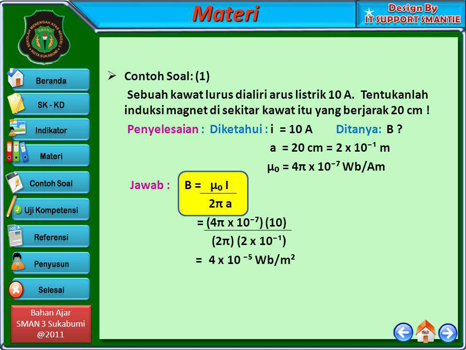 Bahan Ajar SMAN 3 Sukabumi @2011 Bahan Ajar SMAN 3 Sukabumi @2011  Contoh Soal: (2) i₁ = 3 A i₂ The diagram on the side shows two long, Straight, and parallel wires.