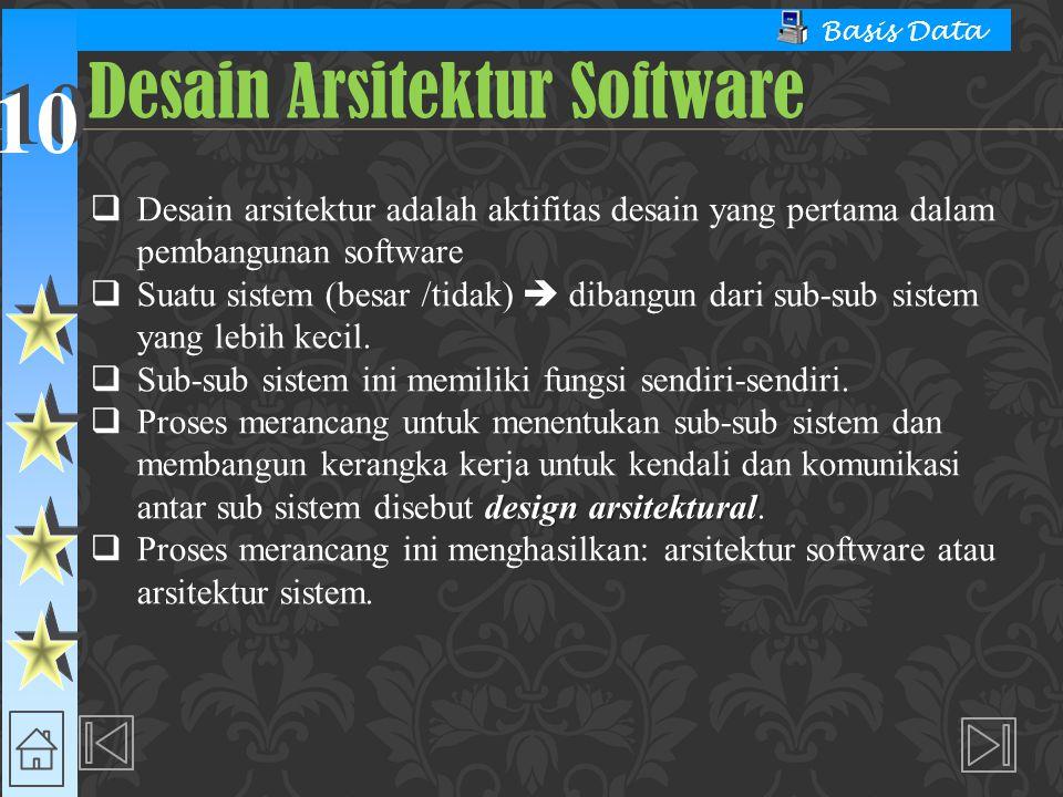10 Basis Data  Desain arsitektur adalah aktifitas desain yang pertama dalam pembangunan software  Suatu sistem (besar /tidak)  dibangun dari sub-su