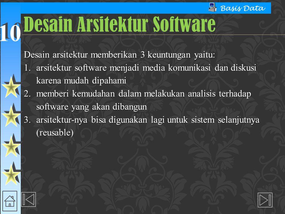 10 Basis Data Desain arsitektur memberikan 3 keuntungan yaitu: 1. arsitektur software menjadi media komunikasi dan diskusi karena mudah dipahami 2. me