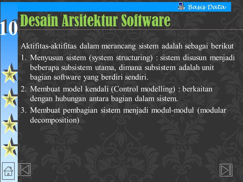 10 Basis Data Aktifitas-aktifitas dalam merancang sistem adalah sebagai berikut 1. Menyusun sistem (system structuring) : sistem disusun menjadi beber
