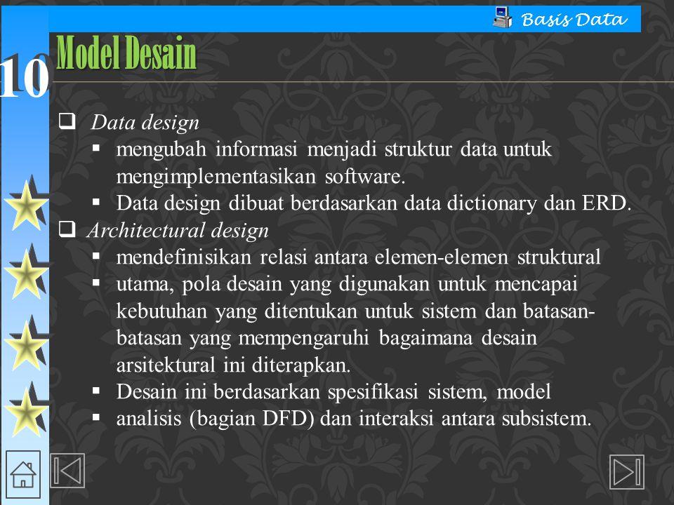 10 Basis Data  Data design  mengubah informasi menjadi struktur data untuk mengimplementasikan software.  Data design dibuat berdasarkan data dicti