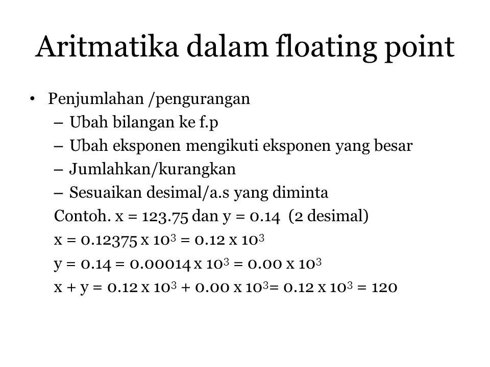 Aritmatika dalam floating point Penjumlahan /pengurangan – Ubah bilangan ke f.p – Ubah eksponen mengikuti eksponen yang besar – Jumlahkan/kurangkan –