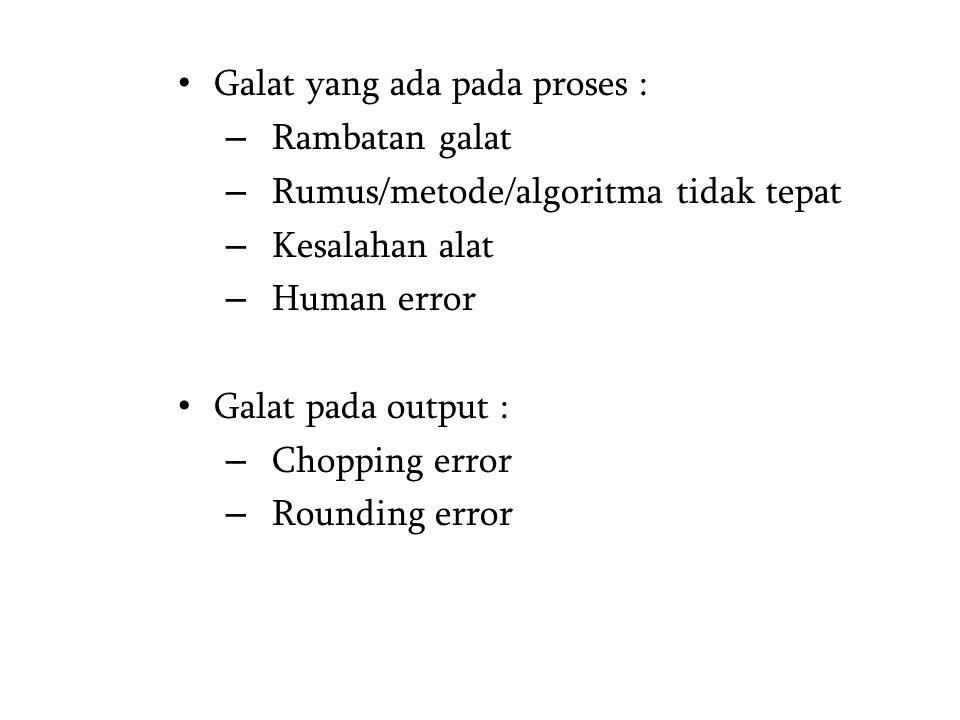 Galat yang ada pada proses : – Rambatan galat – Rumus/metode/algoritma tidak tepat – Kesalahan alat – Human error Galat pada output : – Chopping error