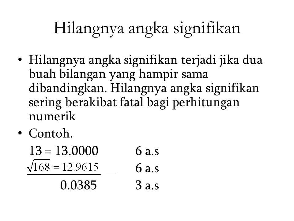 Hilangnya angka signifikan Hilangnya angka signifikan terjadi jika dua buah bilangan yang hampir sama dibandingkan. Hilangnya angka signifikan sering