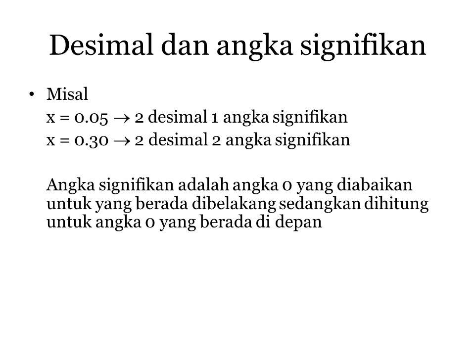 Desimal dan angka signifikan Misal x = 0.05  2 desimal 1 angka signifikan x = 0.30  2 desimal 2 angka signifikan Angka signifikan adalah angka 0 yan