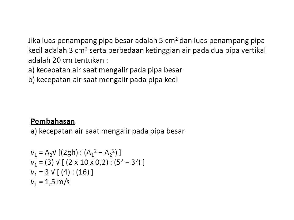 Tips : Satuan A biarkan dalam cm 2, g dan h harus dalam m/s 2 dan m.