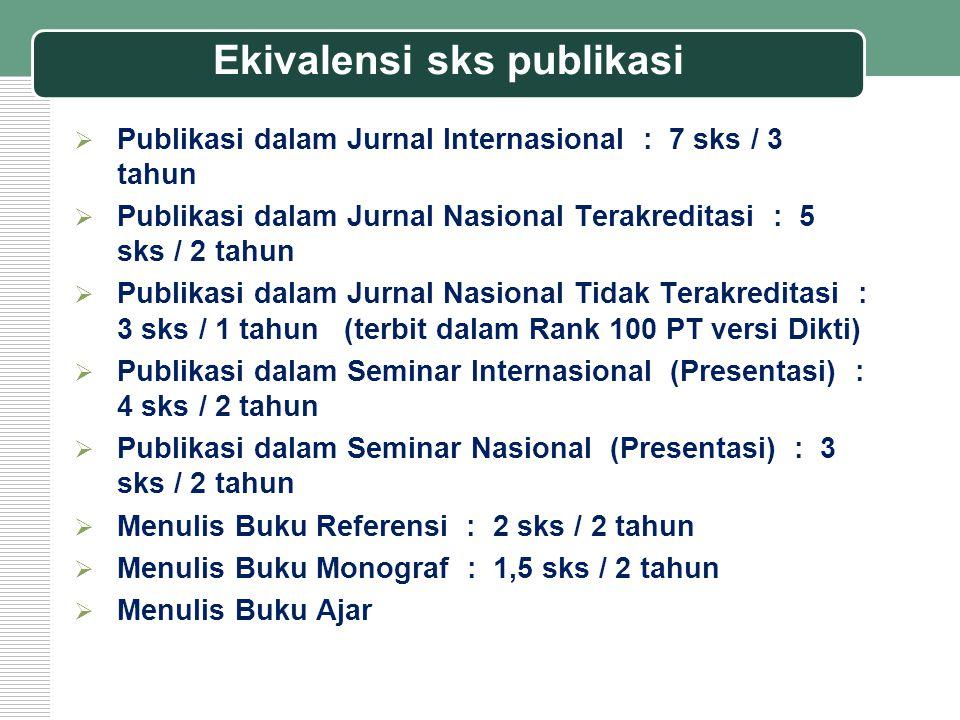 Ekivalensi sks publikasi  Publikasi dalam Jurnal Internasional : 7 sks / 3 tahun  Publikasi dalam Jurnal Nasional Terakreditasi : 5 sks / 2 tahun 