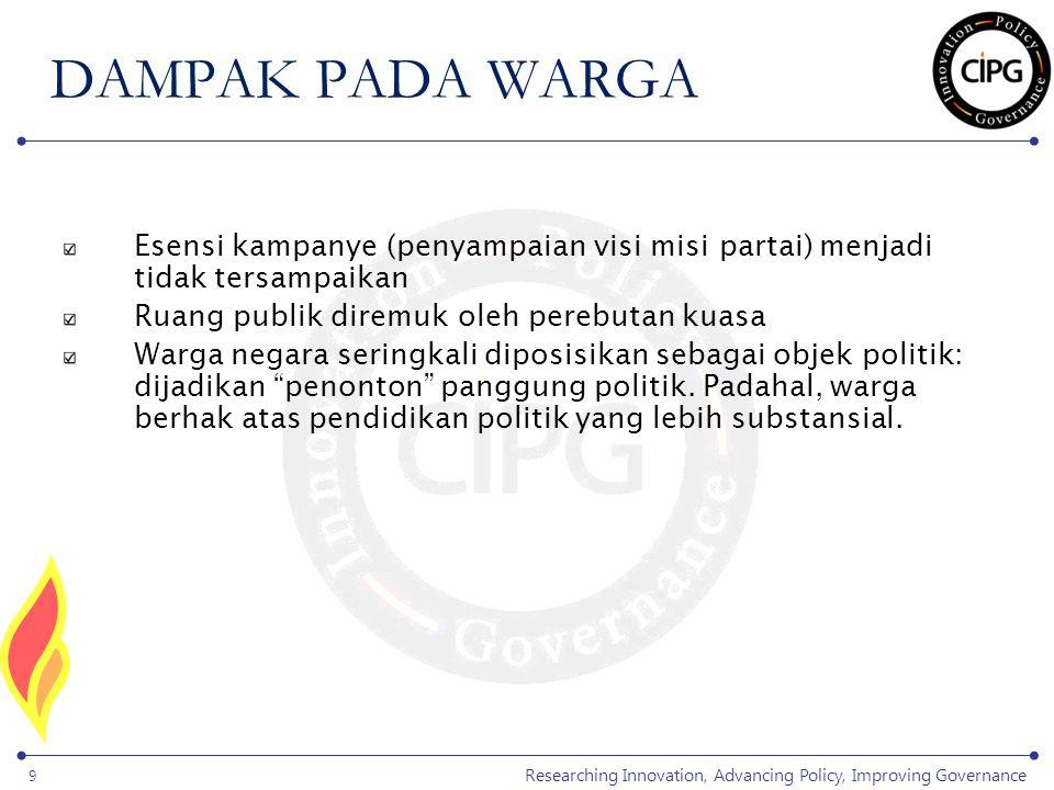 Researching Innovation, Advancing Policy, Improving Governance 9 Esensi kampanye (penyampaian visi misi partai) menjadi tidak tersampaikan Ruang publi