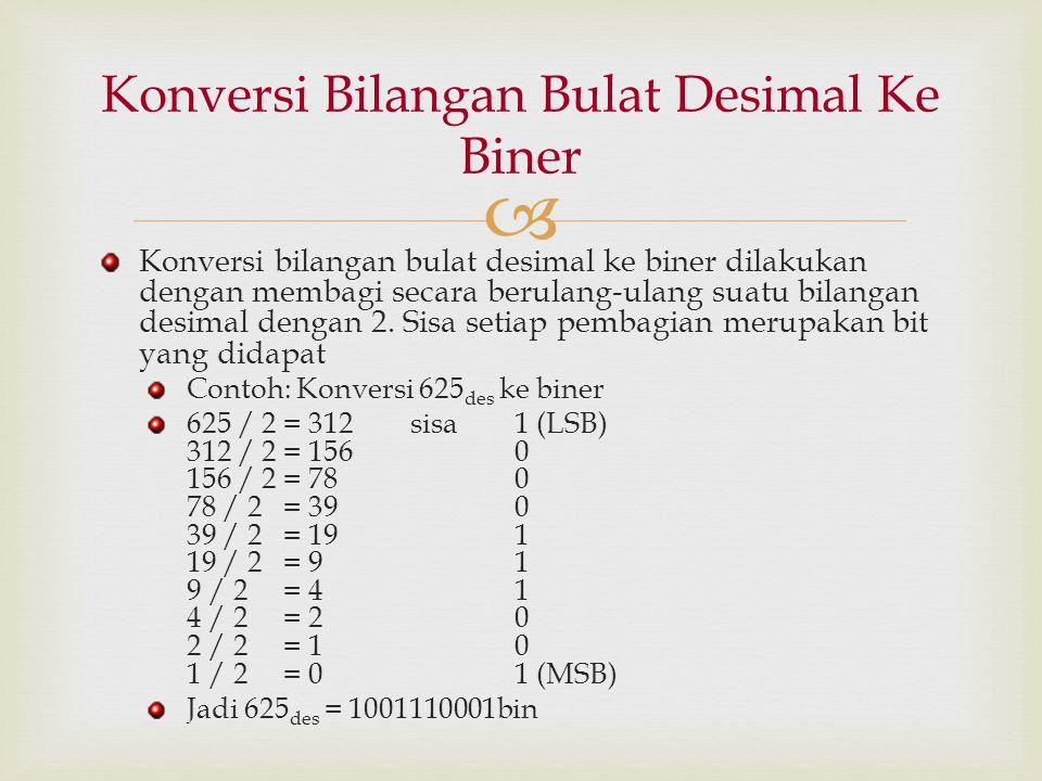  Konversi bilangan bulat desimal ke biner dilakukan dengan membagi secara berulang-ulang suatu bilangan desimal dengan 2. Sisa setiap pembagian merup