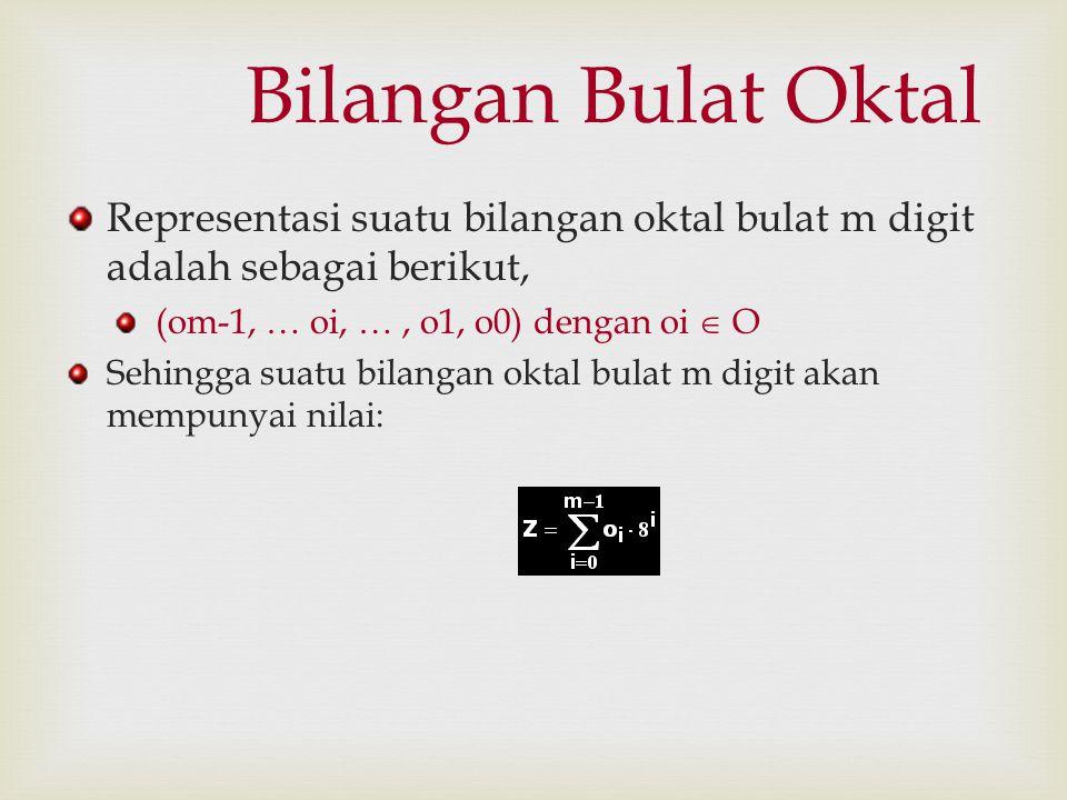 Bilangan Bulat Oktal Representasi suatu bilangan oktal bulat m digit adalah sebagai berikut, (om-1, … oi, …, o1, o0) dengan oi  O Sehingga suatu bila
